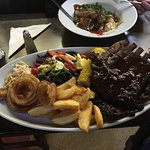 Massive portion of juicy ribs, would easily serve 2