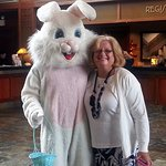Meeting the Easter Bunny in the lobby