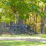Dozens of memorials are flanked by period cannon