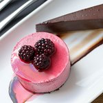 Dark chocolate tart with blackberry mousse
