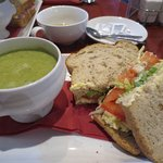 Ham and pea soup with salad and cheese sandwich