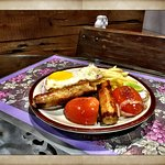 Dutch Chicken Ham & Sausage Grill with Fries Grilled Tomato, Onions !!@The Grapevine