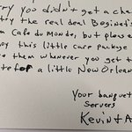 The gracious note from catering crew, Kevin & Amy