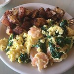 The Monterey Scrambles with a side of home fries