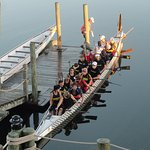 Dragon Boats prepare to launch next to hotel