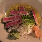 Superb Ahi Tuna! Special mixed green salad with pistachios, feta cheese + an outrageously delici