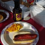 QBBQ sauce even goes good on grilled beef hot dogs