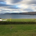 View across the hotel's grass runway to the Sound of Mull