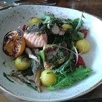 Mill Race Cornish grill with four assorted fish with vegetables & sauce