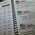 menu (the full menu is 22 pages long)