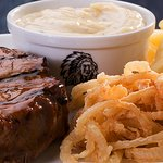 Succulent fillet steak, topped with creamy garlic sauce