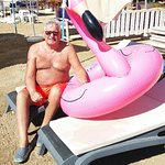 On the beach with the pink flamingo