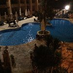 Night time view to the pool area
