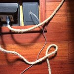 Detail of the old-style electric cords in the room; it's the small details like this I liked