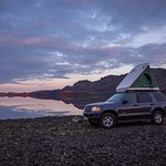 Camping car with raised tent, at Kleifarvatn on the Reykjanes peninsula