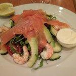 Salmon trout and prawn salad.