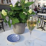 Glass of Champagne in the outside seating area