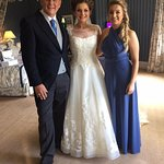 Father of the bride, the bride & chief bridesmaid (sister)
