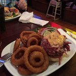 Reuben Burger with Onion Rings