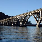 Issac Lee Patterson Bridge spanning the Rogue river. Nice view from the Porthole Cafe.