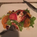Heirloom and Mozzarella Salad w/pickled cherries, peaches and basil Porcini Crusted Grouper w/lo