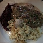 Jaeger Schnitzel with rotkohl and spaetzele