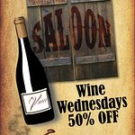 Wednesday enjoy half price wine night. Wine sold by the bottle is half off, great selection of w