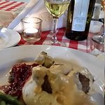Excellent wine, Lobster bisque and Swedish meatballs. Fantastic. Lovely setting and really nice