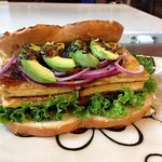 Teriyaki grilled tofu sandwich