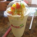 Pineapple bubble tea with rainbow jelly