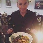 Enjoying Moroccan chicken at Eno'