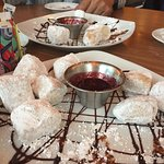 Crumbled cannoli and zeppole with raspberry sauce are the best!
