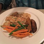 Scallops with crab meat, veal francese, butterscotch bread pudding