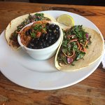 chorizo tacos with black beans and rice