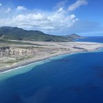 coastline of Montserrat where ash flow went into ocean