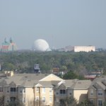 Zoomed in view of Epcot's Spaceship Earth, building 31 or 32
