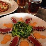 Perfectly seared ahi and seaweed salad...YUM!