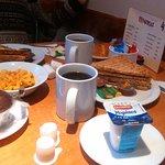 Desayuno. Té, café (aguatxirri), yogur, muffin, cereales y tostadas integrales.