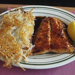 Glazed Salmon Dinner with hash brown potatoes