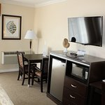 Amenities found in all of our rooms. Refrigerator, Microwave, Coffee Maker, Flat Screen TV