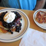Double Blueberry Pancakes with bacon