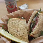 "The ""Don Draper"" sandwich with blood-orange San Pellegrino soda."