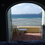 view from the bed in the villa