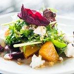 Roasted Beet Salad, arugula, local chevre, sherry gastrique