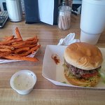 Double Onion Burger with Sweet Potato Fries