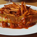 Currywurst with sweet potato fries