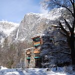 This awesome hotel stands out before the backdrop of Yosemite Falls. Taken early spring.