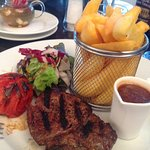 Steak (perfectly cooked) and chips