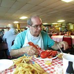 My husband tackling the lobstah