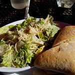 Turkey, Apple, Brie sandwich, Caesar side salad